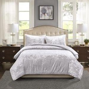 Silver gray crushed velvet comforter Queen size